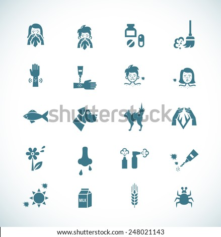 Icon painted in dark blue color on a white background on the topic of allergies and its causes. Vector illustration - stock vector