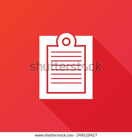 Icon Paste. Long shadow - stock vector