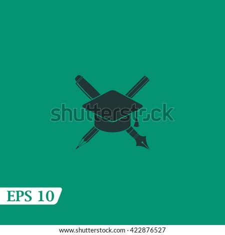 Icon pencil and a pen under graduation cap. - stock vector