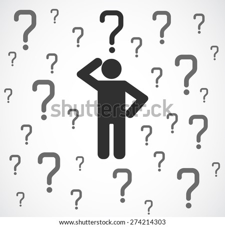 icon person with question mark concept background - stock vector