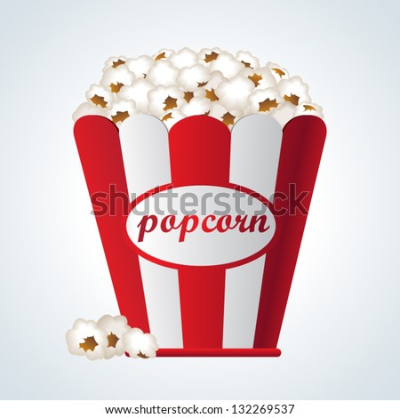 Icon popcorn in red and white cardboard box for cinema - stock vector