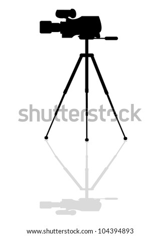 Icon professional television camera on a tripod - stock vector