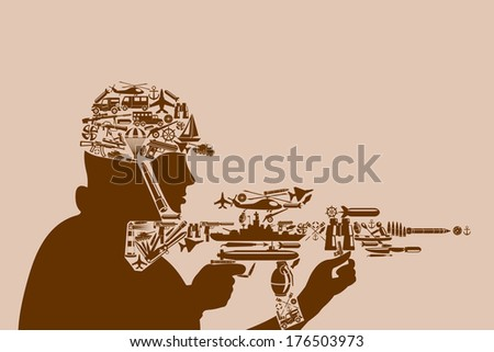 icon related to army, air force and defense services forming shape of soldier - stock vector