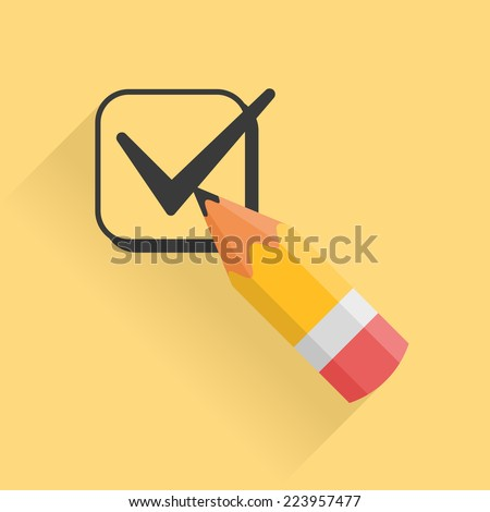 Icon representing pencil and checkbox filled with tick mark - stock vector
