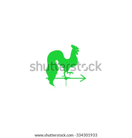 Icon Rooster weather vane. - stock vector