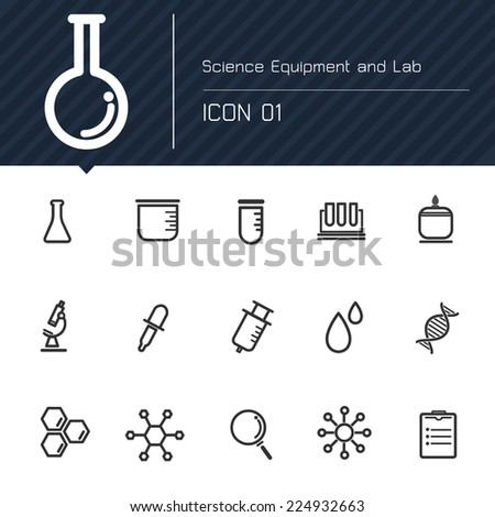 Icon Science Equipment and Lab - stock vector