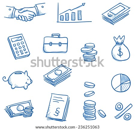 Icon set business & finance with money, graphs, calculator, shaking hands, hand drawn vector doodle - stock vector