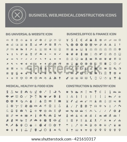 Icon set,business icons,web icons,medical icons,construction icons,vector - stock vector