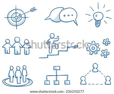 Icon set business strategy & teamwork with idea light bulb, gear wheel, target, speech bubble, hand drawn vector doodle - stock vector