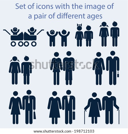 Icon set by age couples of all ages. - stock vector