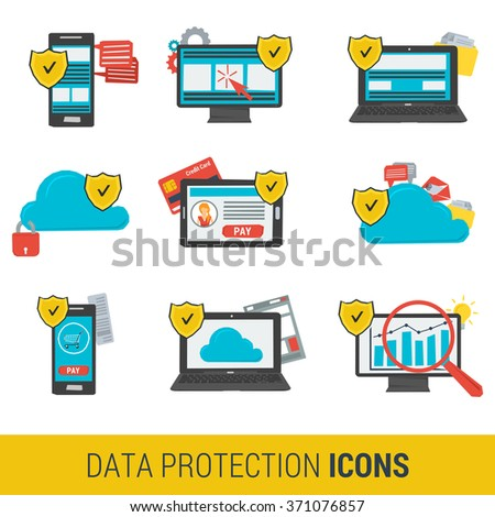 Icon set concept data protection and safe work in internet. Nine icons protective shield on on various devices computer, online financial transactions,  cloud storage. Flat style. Web infographics - stock vector