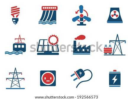 Icon Set, Energy and Industry - stock vector