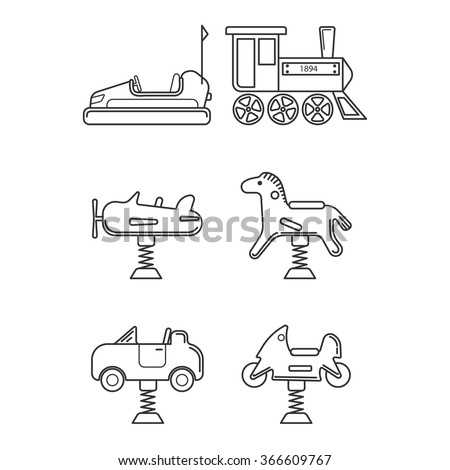 Icon set for playground or funfair attraction in black and white style. Vector icon set isolated on white background. - stock vector