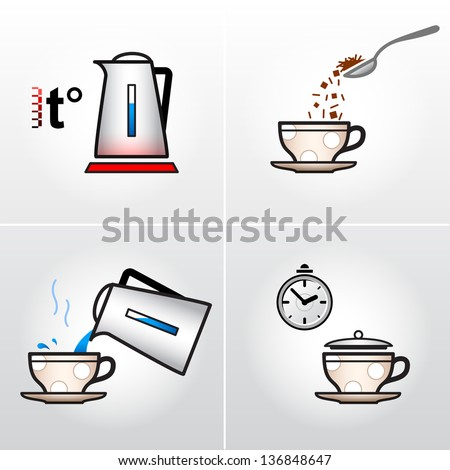 Icon set for process of brewing tea, coffee, etc. Vector drawing steps of making hot drinks. - stock vector