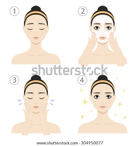Icon set for skincare infographic. Colorful vector image illustrated steps of washing of pretty woman with acne. Cute cartoon girl with skin problem shows the result of using care cosmetic product. - stock vector