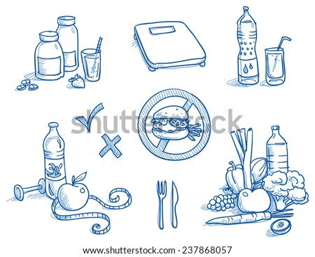 Icon set healthy food, nutrition, with measuring tape, water, apple, scales, burger, fruits and vegetables, bottle and glass. Hand drawn doodle vector illustration. - stock vector