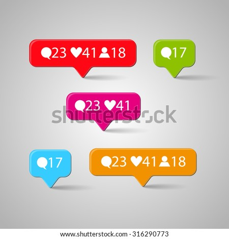 Icon set, Like, follower, comment. Vector illustration - stock vector