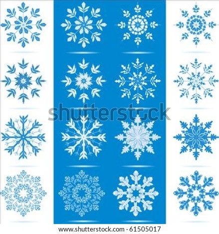 Icon set of 8 different snowflakes - each in two color choices. - stock vector