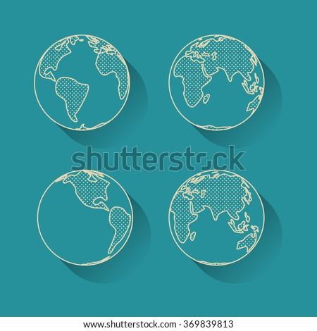 Icon set of Earth globe. Simple line art.  - stock vector