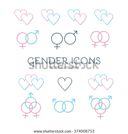 Icon Set of Gender Symbols & Combinations. Man & Woman. Vector illustration - stock vector