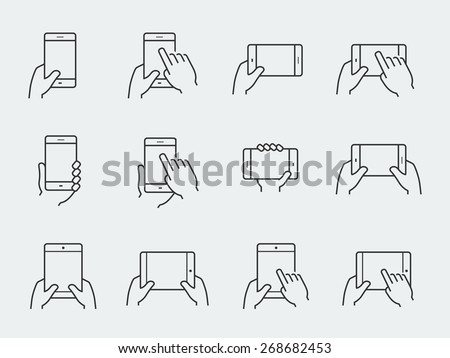 Icon set of hands holding smartphone and tablet - stock vector
