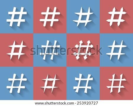 Icon Set of hashtags. Hashtag Symbols - stock vector