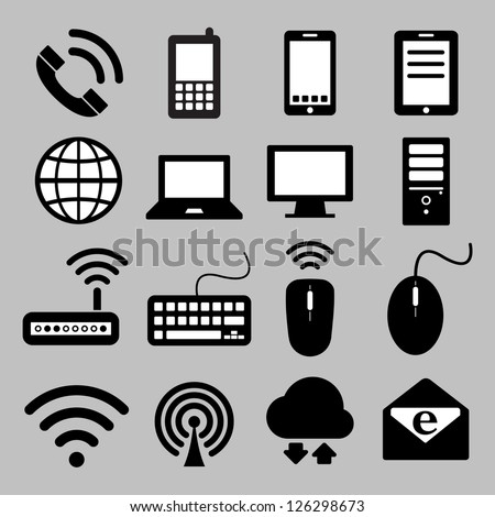 Icon set of mobile devices , computer and network connections ,Illustration eps 10 - stock vector