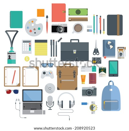 Icon Set of Office Equipment, Travel Gadget and Hobby in Flat Design, Vector - stock vector