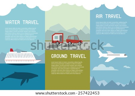 Icon Set of Traveling Elements and Concept Water Ground Air. Vector Flying Airplane, Car with Caravan and Cruise - stock vector
