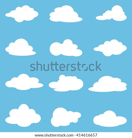 Icon  set of white clouds. Collection clouds. Vector illustration - stock vector