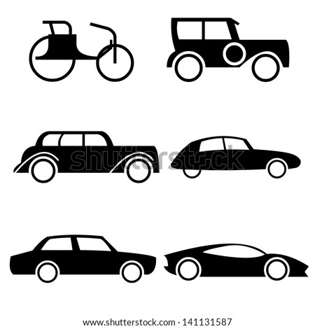 Icon set representing evolution of cars through history. Easy editable vector illustration - stock vector