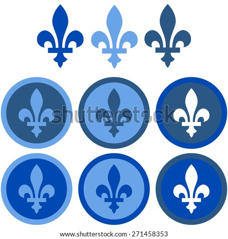 Icon set showing a fleur-de-lys in flat design using different shades of blue - stock vector