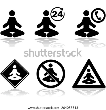 Icon set showing a person meditating and different related signs - stock vector