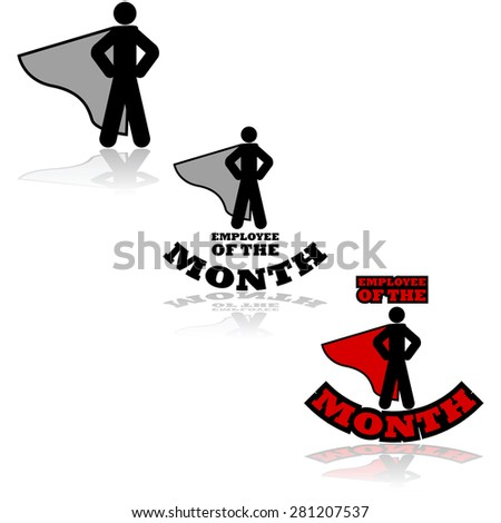 Icon set showing a person wearing a cape combined with the words 'Employee of the Month' - stock vector