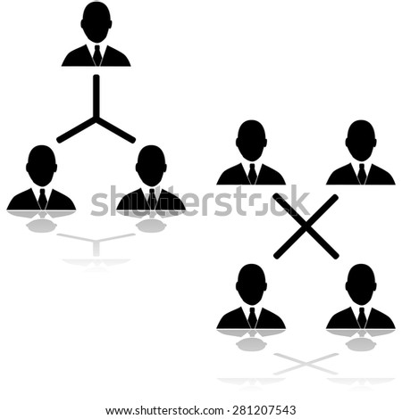 Icon set showing different connections between businessmen - stock vector
