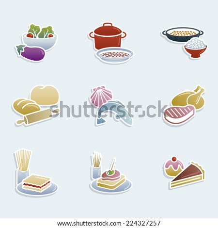 Icon set showing different groups of food - stock vector