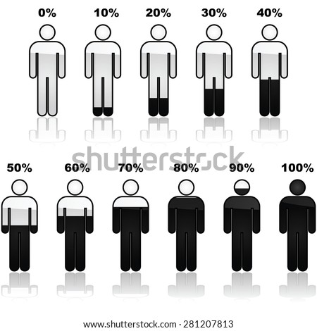 Icon set showing parts of a person shaded black and the percentage it represents. Great for infographic use. - stock vector