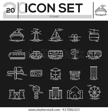 icon set travel and transport.  icon design. vector illustration - stock vector