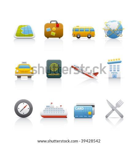 Icon Set - Travel. Set of icons on white background in Adobe Illustrator EPS 8 format for multiple applications. - stock vector