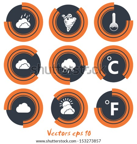 Icon set weather on orange black with white background - stock vector