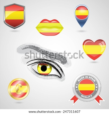 Icon set with flag of Spain - stock vector