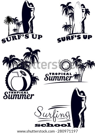 icon set with girl surfer and palm - stock vector