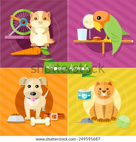 Icon set with home animals silhouettes of pets on multicolor stylish banners. Hamster, parrot, cat and dog in flat design cartoon style - stock vector