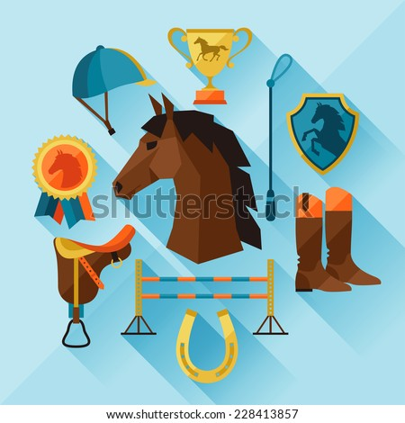 Icon set with horse equipment in flat style. - stock vector