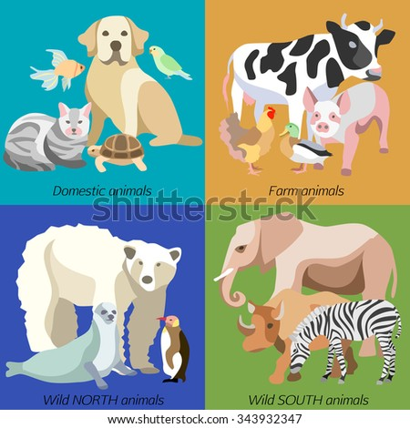 Icon set with silhouettes of pets, farm and wild animals in flat design cartoon style. Isolated  vector illustration. - stock vector