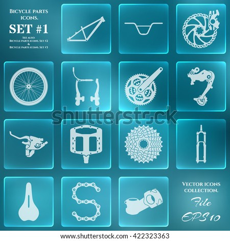 Icon set with symbols of spare parts and accessories for bicycles - stock vector