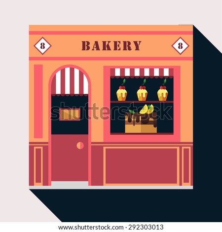 Icon shop or stores with long shadow. Flat design square architecture web icon on old style loca lbakery shop store front facade with cake and pie exposed in windows.Sign on the door. Sign on the door - stock vector