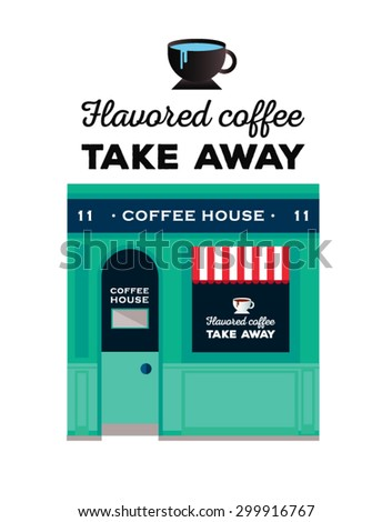 Icon shop or stores with long shadow. Vector local cafe detailed facade background with bicycle. Icon coffee with text. Cute coffee house.  Sign on the door - stock vector