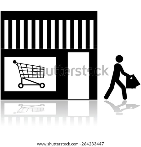 Icon showing a person walking out of a store carrying bags - stock vector
