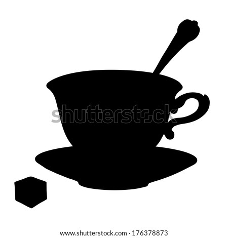 Icon tea cup, coffee cup, spoon, saucer and sugar. Black silhouette isolated on a white background. Abstract design logo. Logotype art - vector - stock vector